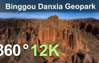 Binggou Danxia Geopark, China. Aerial 360 video in 12K