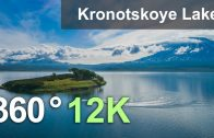 Kronotskoye Lake. The biggest lake of Kamchatka, Russia. Aerial 360 video in 8K