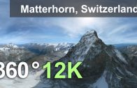 Matterhorn Mountain, Alps, Switzerland. Aerial 360 video in 12K