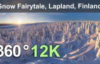 Snowy Fairytale. Lapland, Finland. Aerial 360 video in 12K
