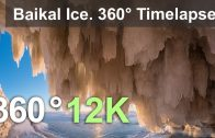 360 video, Baikal Ice. Looking at sunset from ice cave. 12K timelapse