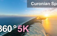 Curonian Spit, Sandy Beaches And Dunes, Russia-Lithuania. 360 aerial video in 5K